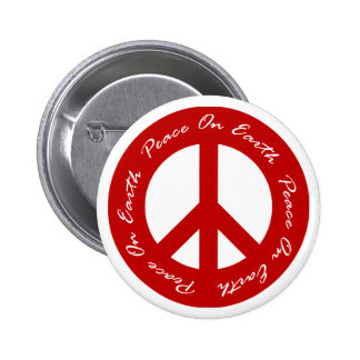 Peace On Earth Red Holiday Peace Sign 6 Cm Round Badge