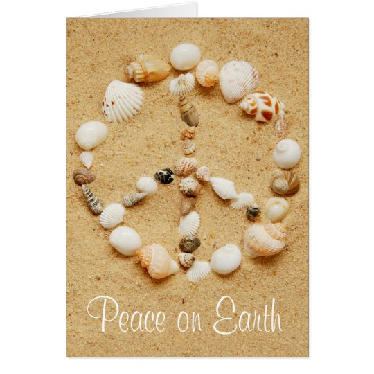 Peace on Earth Seashell Peace Sign Card