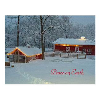 Peace On Earth Snowy Farm Holiday Postcard