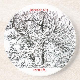 peace on earth tree sandstone coaster