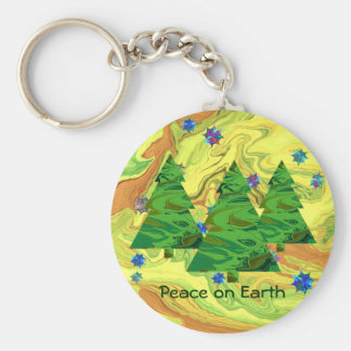 peace on earth trees key ring basic round button key ring