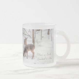 Peace on Earth - Two Deer In Snowy Woods Frosted Glass Mug
