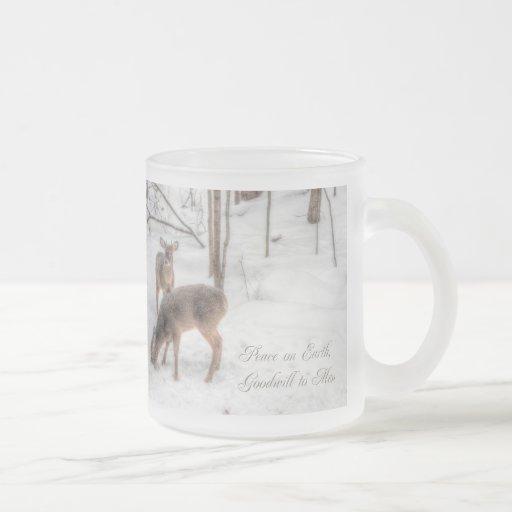 Peace on Earth - Two Deer In Snowy Woods Mugs