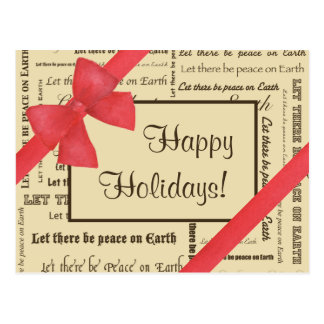 Peace on Earth Typography, Red Bow Postcard