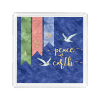 Peace on Earth Watercolor Inclusive Holiday Acrylic Tray