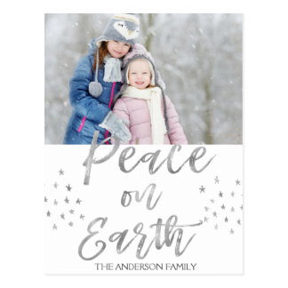 Peace on Earth White and Silver Watercolor Photo Postcard