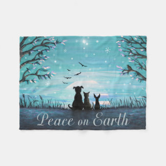 Peace on Earth Winter Sunset Fleece Blanket