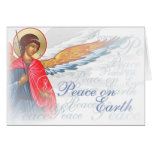 """""""Peace on Earth"""" with Angel and Nativity scene Greeting Card"""