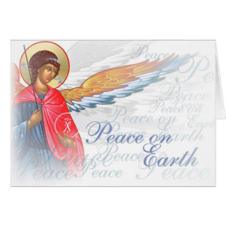 """""""Peace on Earth"""" with Angel and Nativity scene Card"""