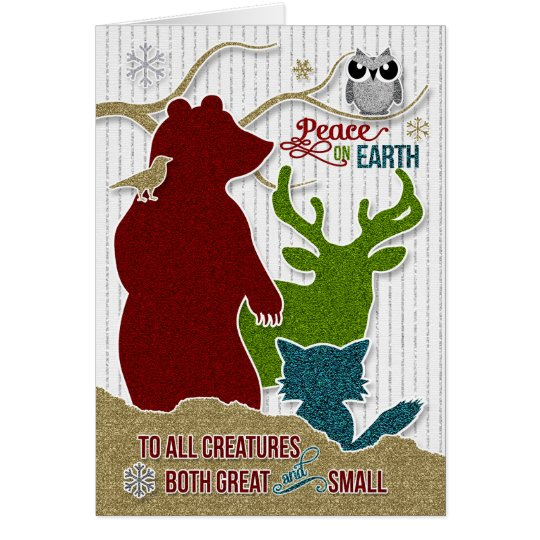 Peace on Earth with Glitter Style Woodland Animals Card