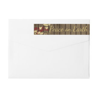 Peace on Earth Woodland Birds and Barn Wood Wrap Around Label