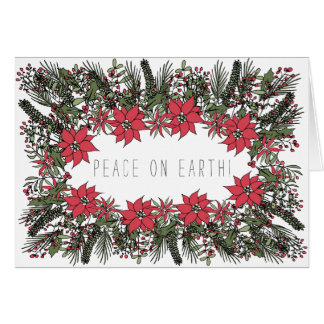 Peace on Earth Wreath Customisable Christmas Card