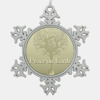 Peace on Earth Yoga Tree Pewter Snowflake Decoration