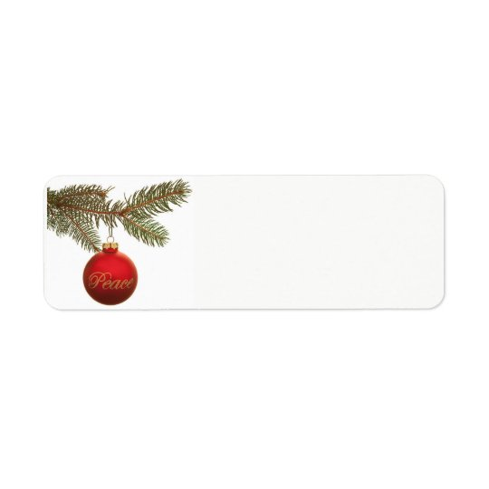 Peace Ornament with Greenery Label