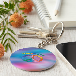 Peace Out Basic Round Button Key Ring