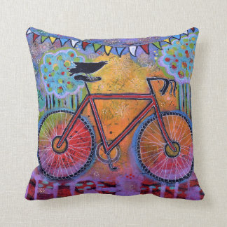 Peace Out! Colorful, Whimsical Bicycle with Raven Cushion