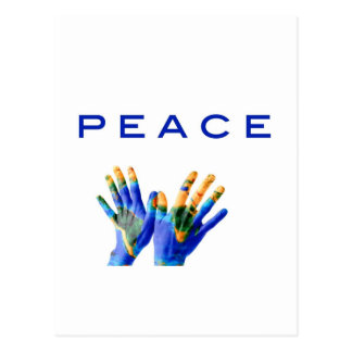 Peace, painted earth on hands by healing love postcard