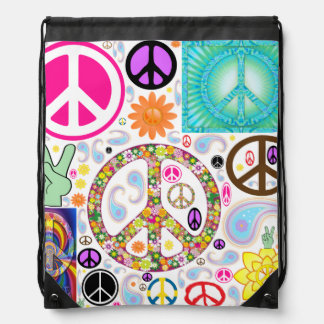 Peace & Paisley Collage Drawstring Bag