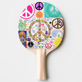 Peace & Paisley Collage Ping Pong Paddle