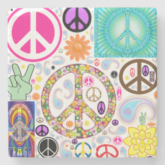 Peace & Paisley Collage Stone Coaster