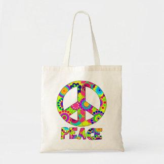 peace,peace symbol,floral peace symbol budget tote bag