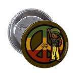 peace pin. 6 cm round badge