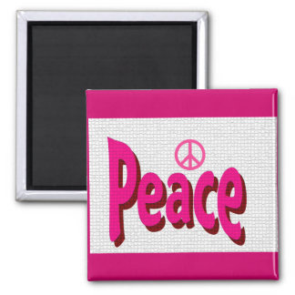 peace pink square magnet