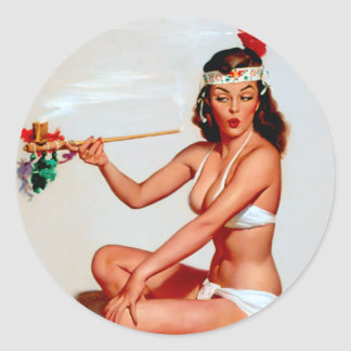 Peace Pipe Pin Up Round Sticker