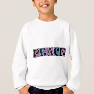 PEACE PURPLE ANDBLUE SQUARE BLOCKS WHITE OOUTLINE SWEATSHIRT
