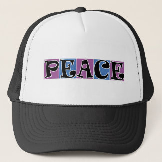 PEACE PURPLE ANDBLUE SQUARE BLOCKS WHITE OOUTLINE TRUCKER HAT