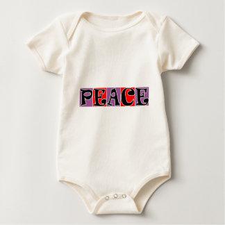 PEACE PURPLE RED SQUARE BLOCKS BABY BODYSUIT