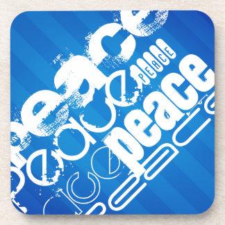 Peace; Royal Blue Stripes Beverage Coaster
