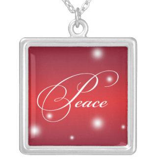 PEACE sentiment elegant script red glow keepsake Square Pendant Necklace