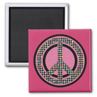 PEACE SEQUINED PINK SQUARE MAGNET
