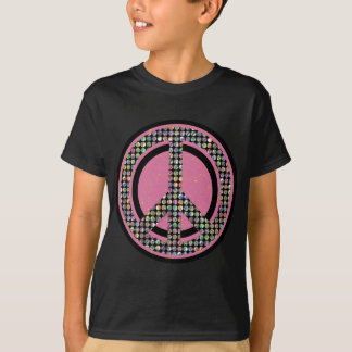 PEACE SEQUINED PINK TSHIRT