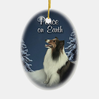 Peace Sheltie Christmas Ornament