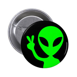 Peace Sign Alien 6 Cm Round Badge