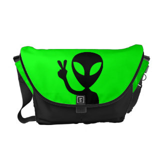 Peace Sign Alien Rickshaw Messenger Bag