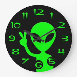 Peace Sign Alien Wall Clock