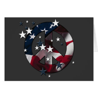 Peace Sign American Stars & Stripes Flag Greeting Card