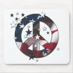 Peace Sign American Stars & Stripes Flag Mousepads
