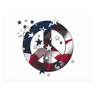 Peace Sign American Stars & Stripes Flag Postcard
