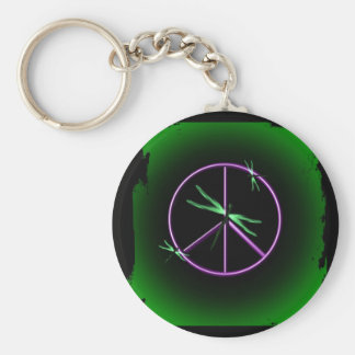 Peace Sign and Dragonfly Basic Round Button Key Ring