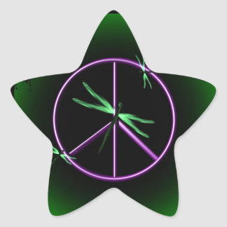Peace Sign and Dragonfly Star Sticker