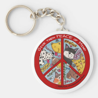 Peace Sign-Animal Protection Basic Round Button Key Ring