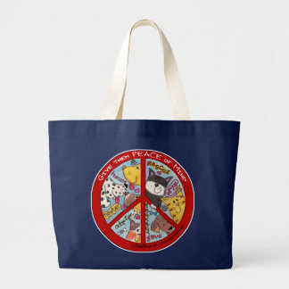 Peace Sign-Animal Protection Large Tote Bag