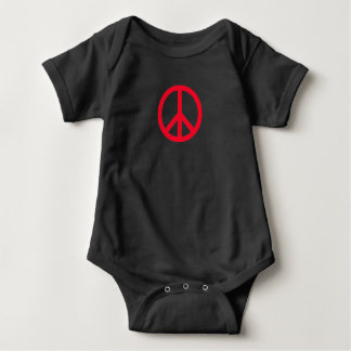 Peace Sign - Baby, red on black Baby Bodysuit