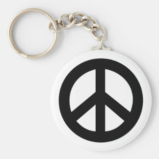 Peace Sign Black Basic Round Button Key Ring