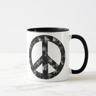 Peace Sign Black Distressed Mug