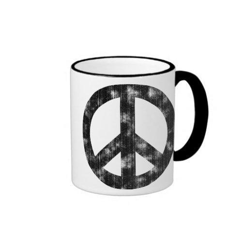 Peace Sign Black Distressed Mug